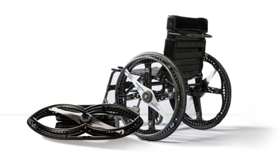 車輪を変形させて折りたためる車いす「MORPH Wheels」