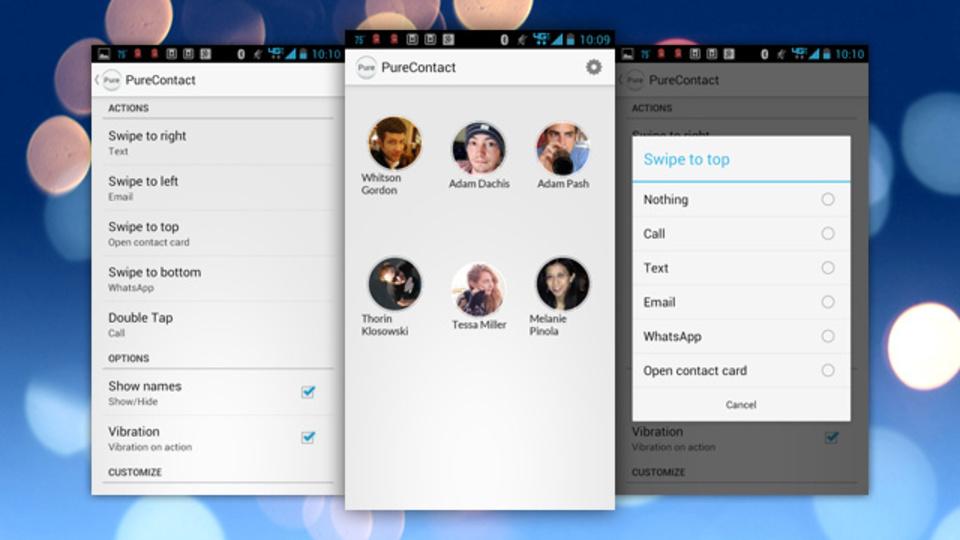 メールやSMSを送信できるジェスチャー機能アプリ『PureContact』