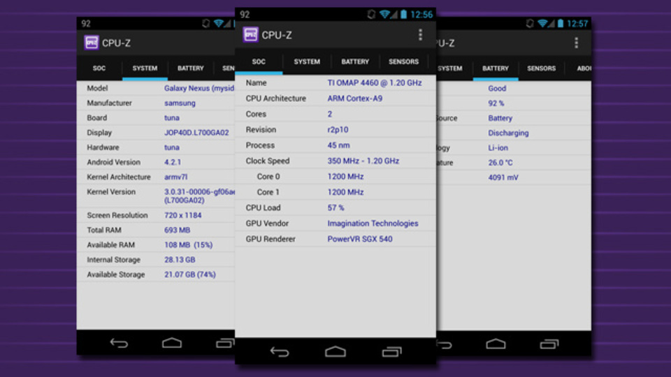 Android端末のCPUやバッテリー状況など「ほとんど」の情報を教えてくれる『CPU-Z』