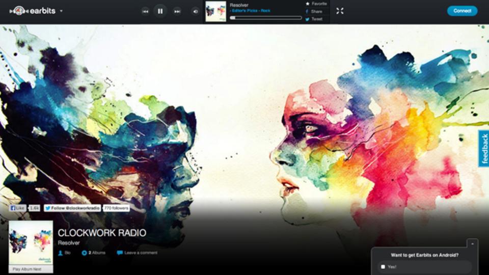 シンプルな使い勝手とクールなデザインの音楽ストリーミングサービス「Earbits」