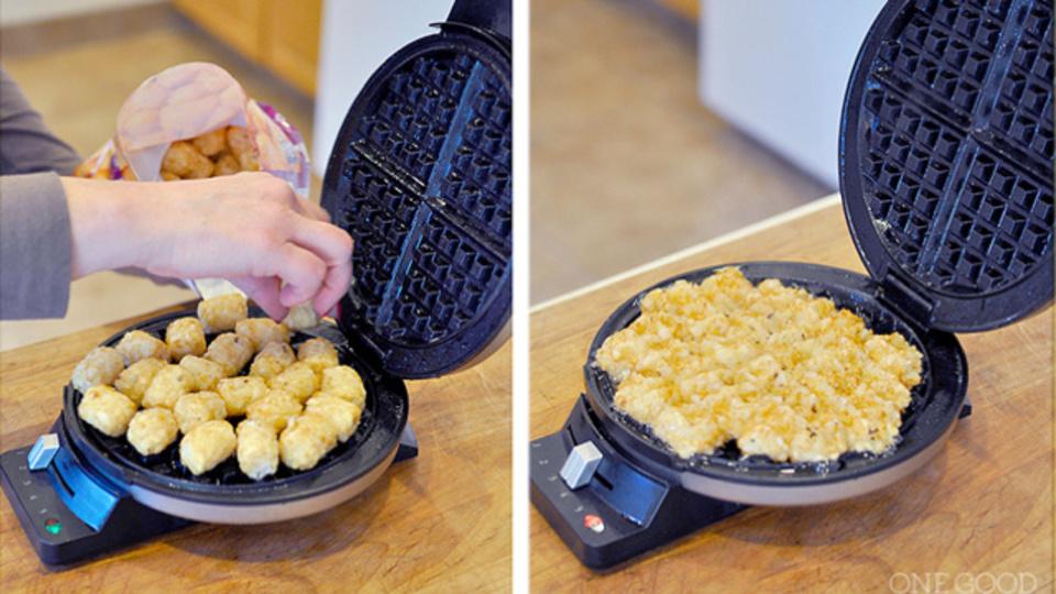 ハッシュドポテトはワッフルメーカーと冷凍ポテトで超簡単に作れる