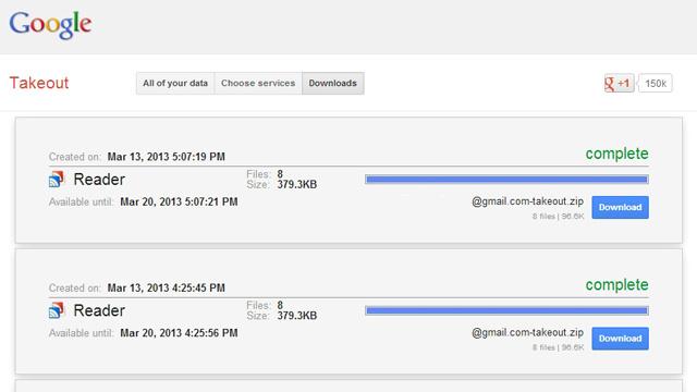 ステップ1:Googleリーダーのデータをエクスポートする