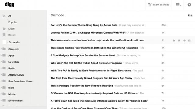 皆に読まれているものを知りたい人には「Digg Reader」