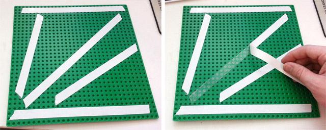 手順5:両面テープを基礎板の裏面にはりつけ