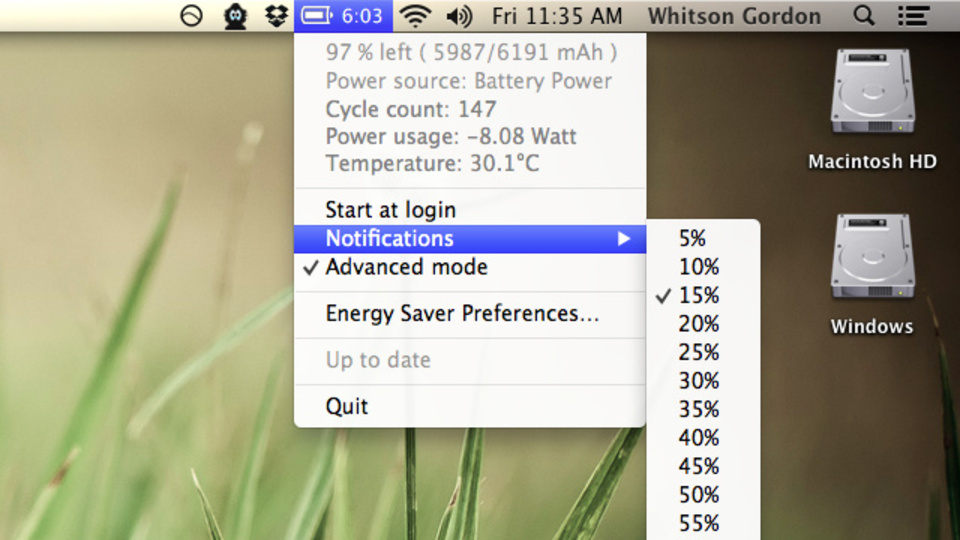 Mac OS:Moutain Lionのメニューバーにバッテリーの残り時間を表示させる『Battery Time Remaining』