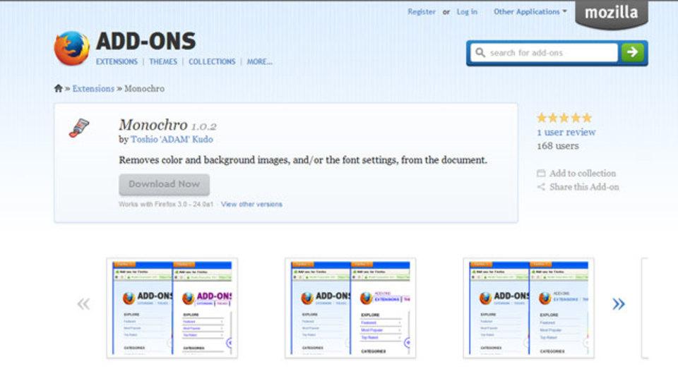 閲覧しているページの背景画像や文字装飾を削除できるアドオン「Monochro」