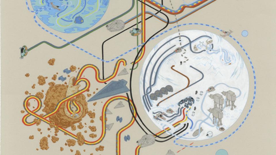 スター・ウォーズ、インディ・ジョーンズの全ストーリーをまとめたイラスト地図が秀逸、まるで一本観直した気分に