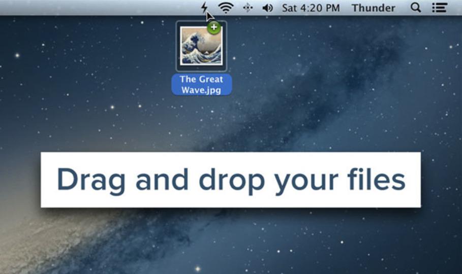 ファイルやスクリーンショットをMacのメニューバーから簡単にアップロード/共有できる『Thunder』