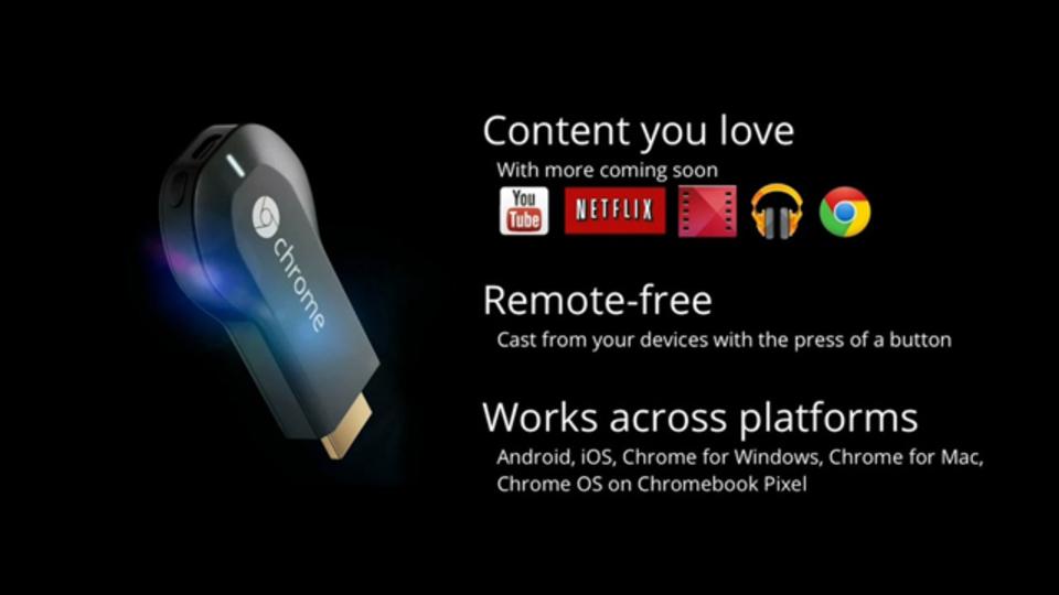Google、HDMI端子に接続するスティック型デバイス「Chromecast」を発表:Apple TVキラーとなるか