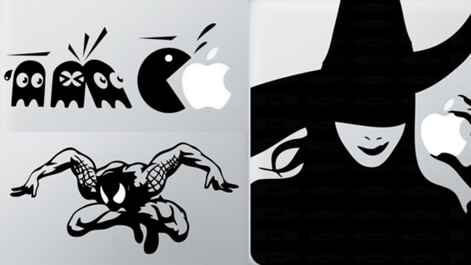 大喜利感すら漂う傑作15点。リンゴマークを彩るMacBook用デカール
