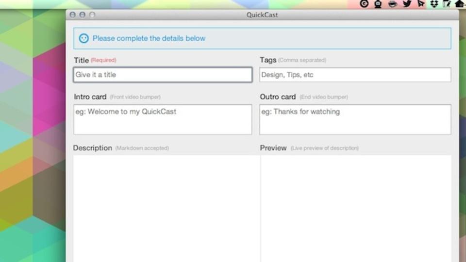 手軽でおすすめなスクリーンキャストを撮れる無料アプリ『QuickCast』