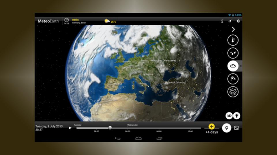 地球儀+リアル天気が面白い! 雨、気温、雲...地球上のあらゆる気象を可視化する『MeteoEarth』