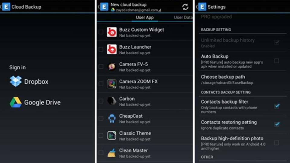 Android端末のバックアップをするなら:クラウドサービスとの同期が便利な『Ease Backup』