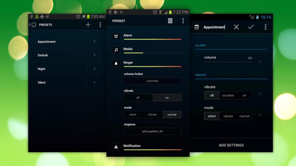 着信音や音楽、システム音などあらゆるAndroidの音量を設定できる『Persist』