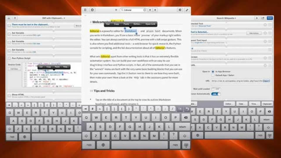 自動化機能を使って、より効率的な作業を:iPad向けテキストエディタ『Editorial』