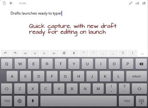 iPad上のDraftsの画面
