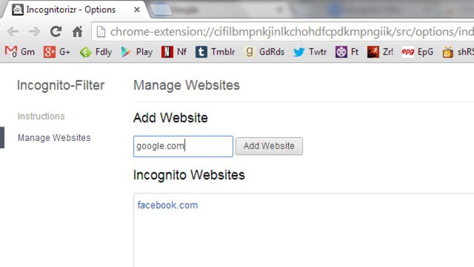 特定のサイトを常にシークレットモードで開くよう設定できる『Incognito Filter』