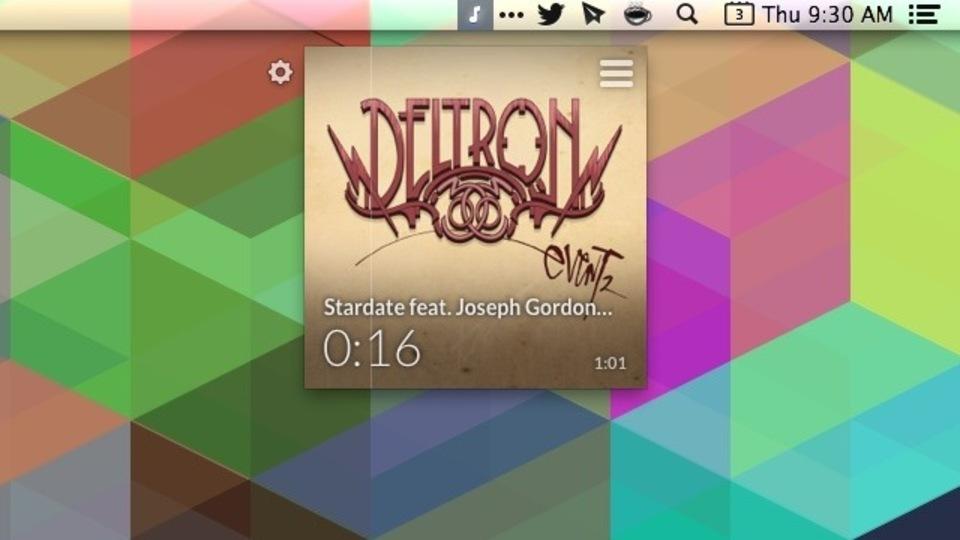 iTunesをメニューバーから操作できるシンプルツール『Muzzy』(無料)