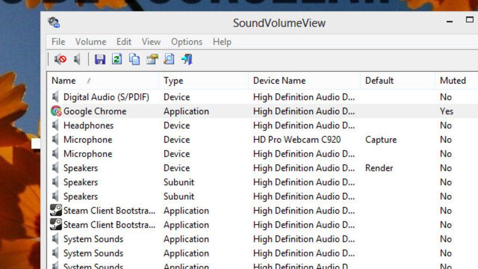アプリやデバイスごとに音量やミュートの設定ができる『SoundVolumeView』