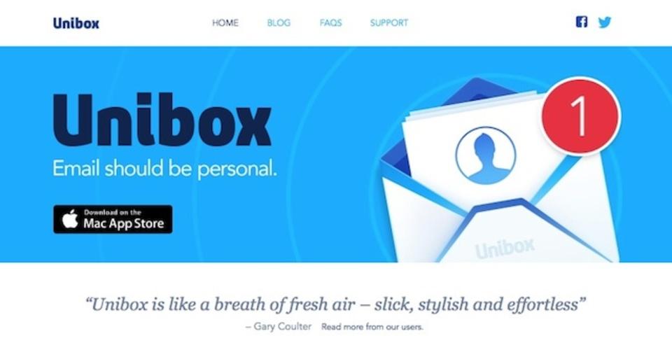 「誰からのメール?」に主眼を置いたメールアプリ『Unibox』