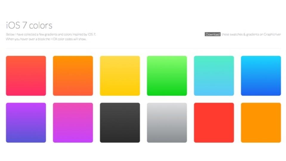 iOS7で使用されている色のカラーコードがまとまったサイト「iOS 7 colors」