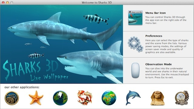 『Sharks 3D』であなたのデスクトップにジョーズが現れる!