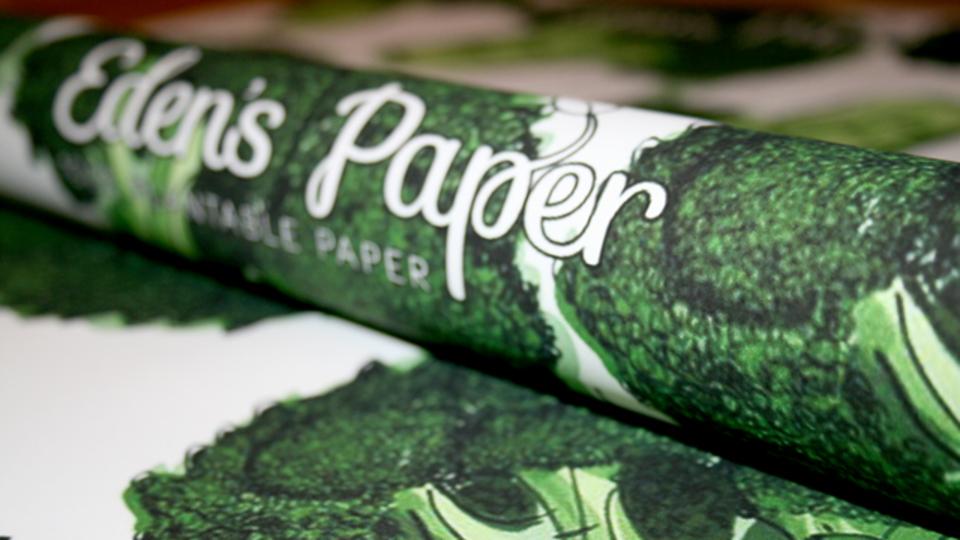 土に埋めると野菜が育つ摩訶不思議なラッピングペーパー「Eden's Paper」
