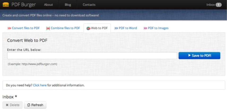 指定したウェブページをまるごとPDF化してくれるウェブサービス「PDF Burger」