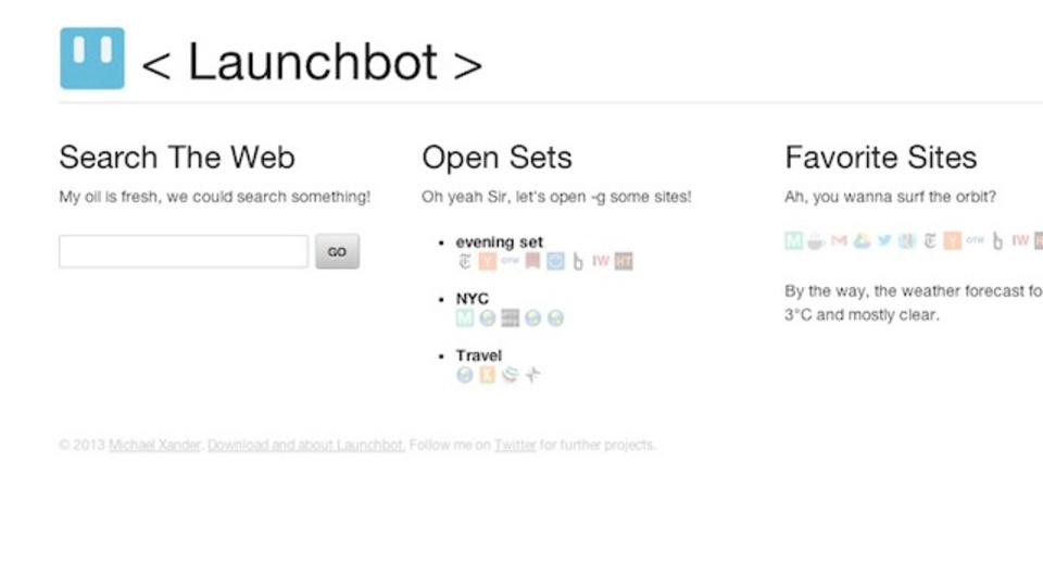 ブラウザのスタートページをもっと便利にするLaunchbot