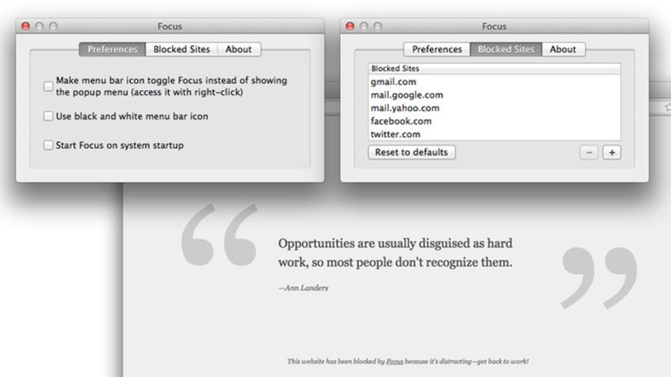 仕事の邪魔になりそうなサイトは『Focus』で先回りブロック