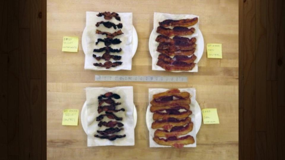 ベーコンの縮みを最小限に抑える調理法が判明:実験結果
