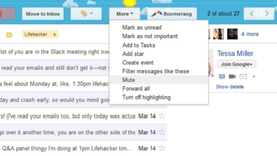 Gmailの「全員に返信」で積み重なっていくスレッドにうんざりしたら、ミュート機能を思い出して