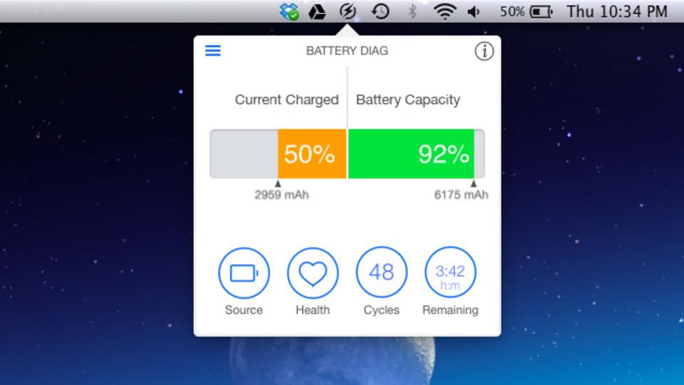 MacBookのバッテリー情報を正確に把握するアプリ「Battery Diag」
