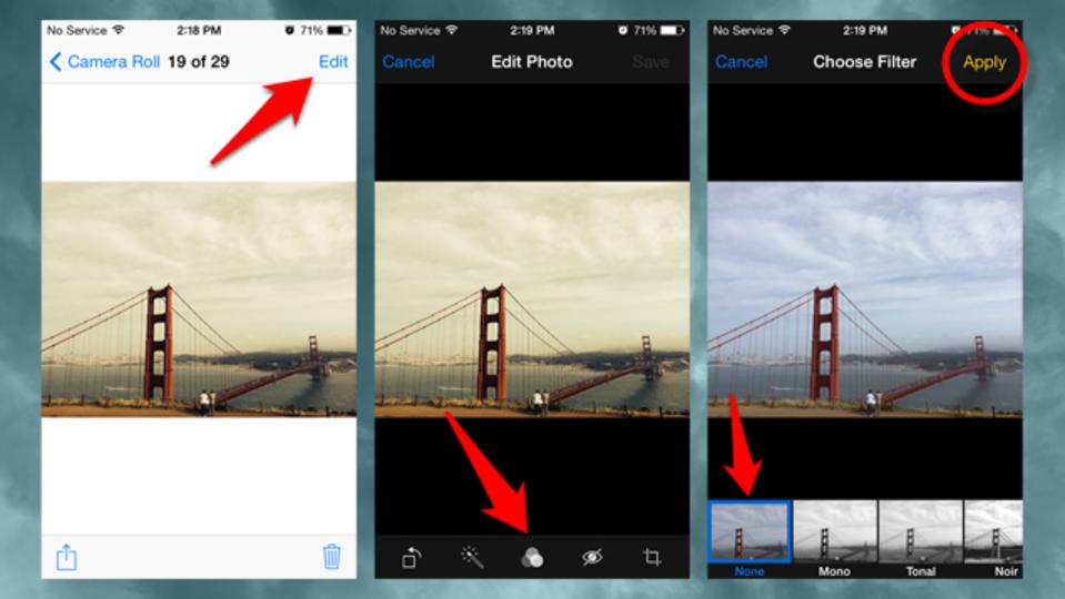 iOS7でフィルターをかけた写真は元の写真に復元できる