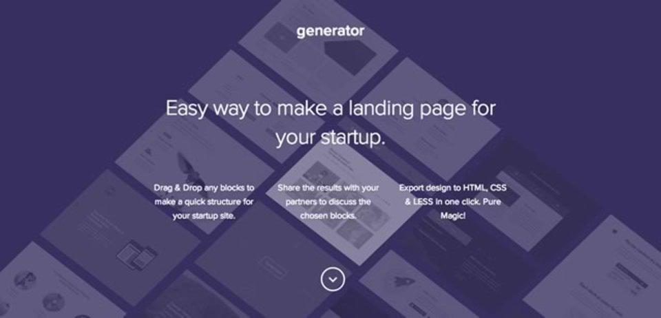 ドラッグ&ドロップでスタートアップ用のウェブサイトが作れるサイト「Generator for Startup Framework」