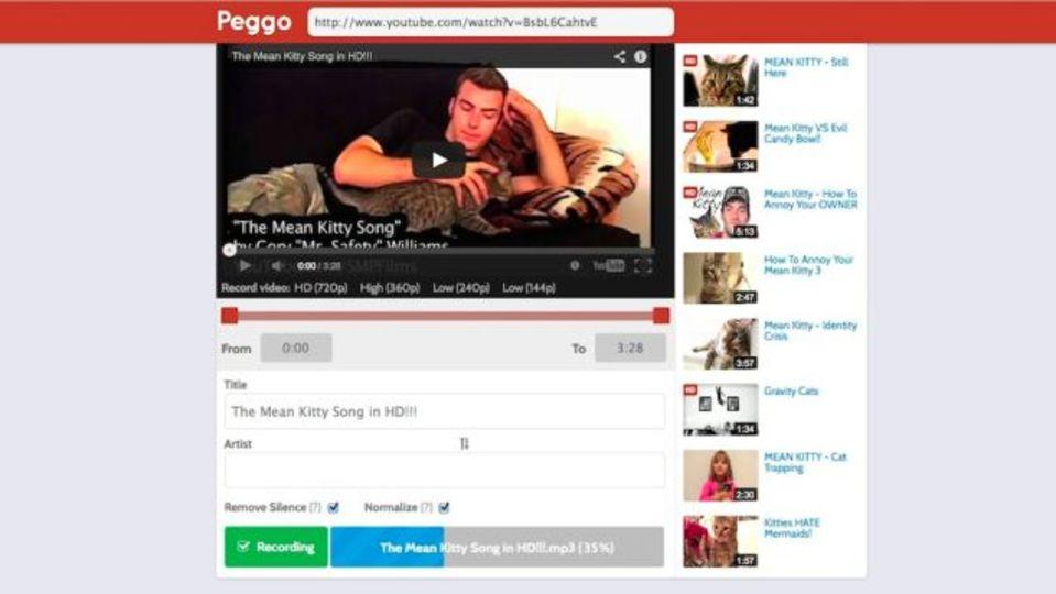 YouTube動画をオーディオに変換するサービス「Peggo」