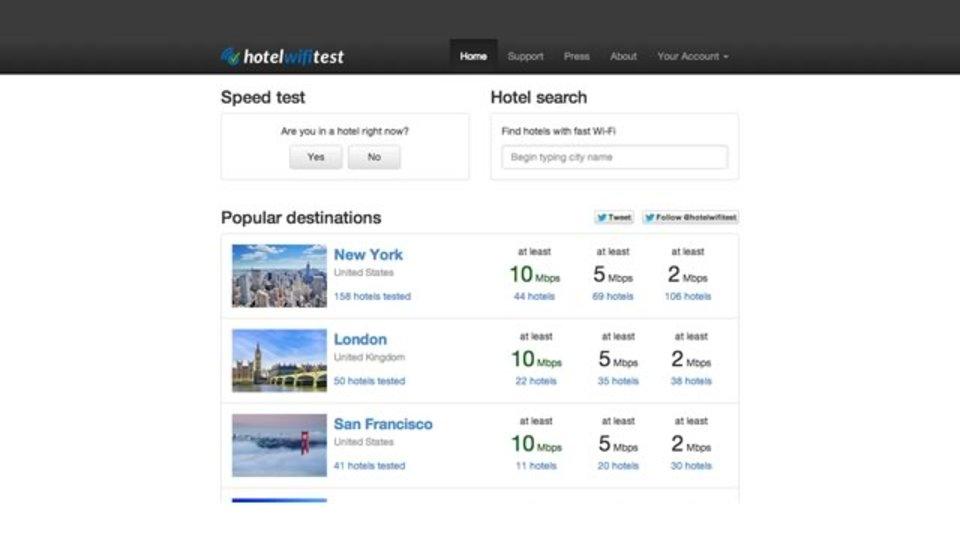 指定したホテルのWi-Fi速度を調べられるサイト「Hotel Wi-Fi Speed Test」
