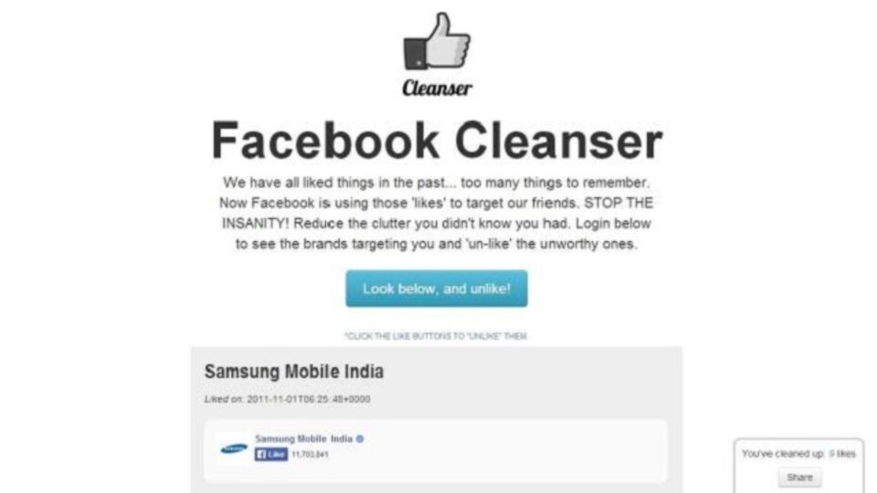 もう興味を失った「いいね!」ページをすばやく削除できるWebアプリ「Facebook Cleanser」