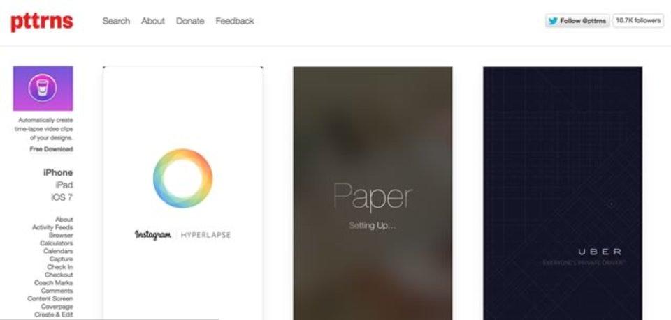 iOSアプリのUIパターンをまとめた「Pttrns」