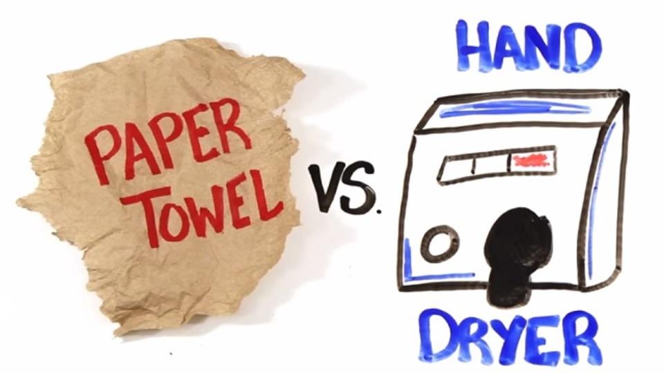 ペーパータオルと手指用ドライヤー、どちらがより衛生的?