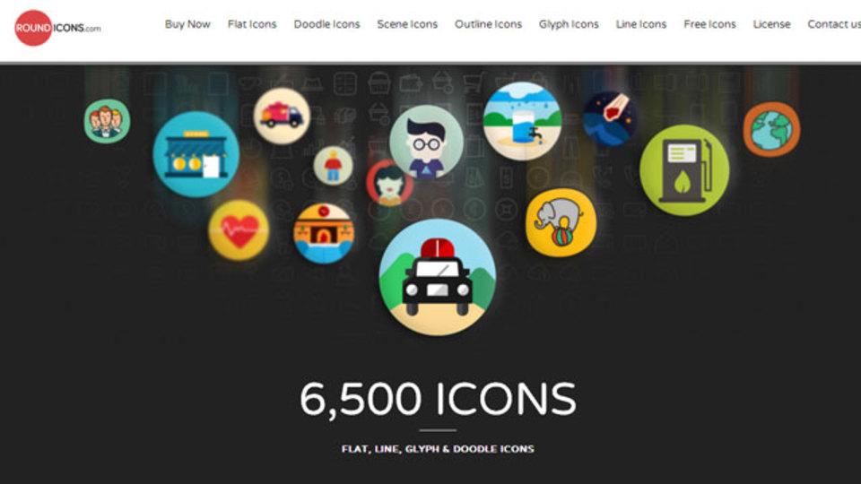 フラットデザインに合うアイコンが6500種類も手に入るサイト「ROUND ICONS」