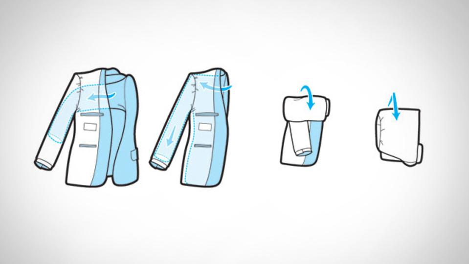 機内持ち込み用バッグにも入るスーツのジャケットの最もコンパクトなたたみ方