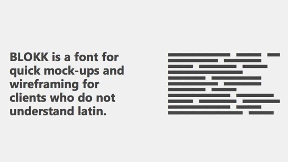モック作成に便利なダミーテキスト用フォント「BLOKK」