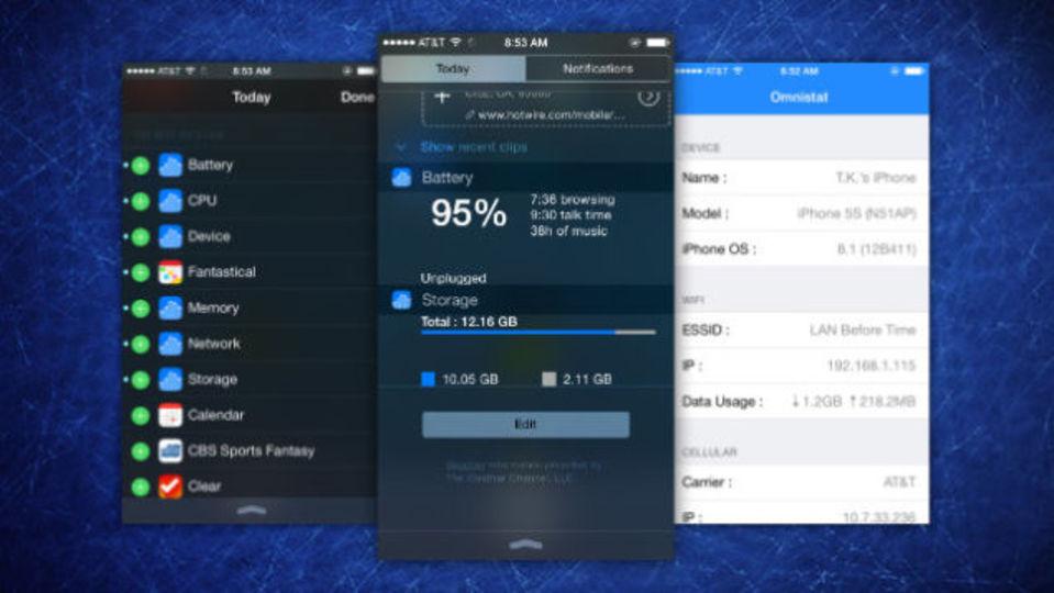 iPhoneの通知センターにデバイス情報を自然に表示できるアプリ『Omnistat』