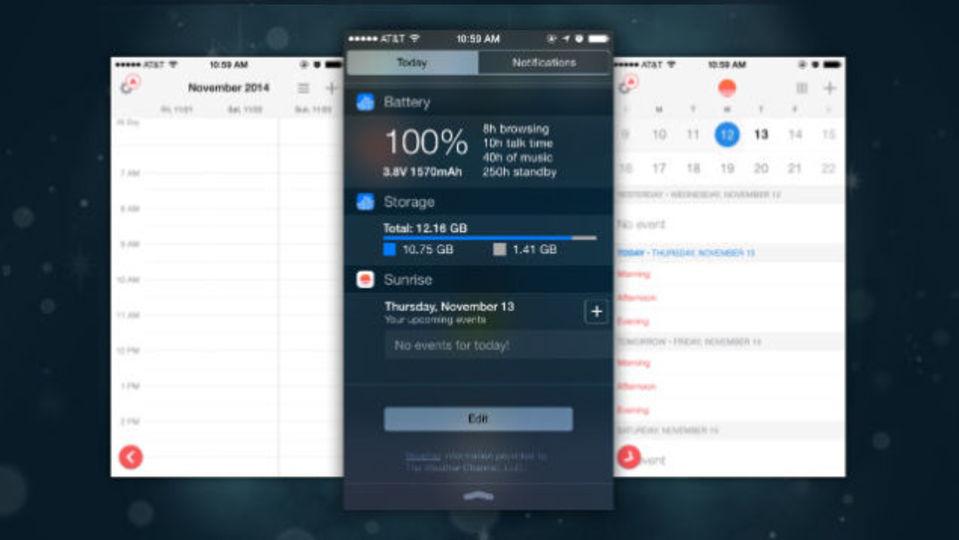定番カレンダーアプリ『Sunrise』に待望の通知センターウィジェットの機能が追加