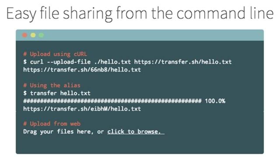 curlでコマンドラインから任意のファイルをアップロードできるサービス「transfer.sh」