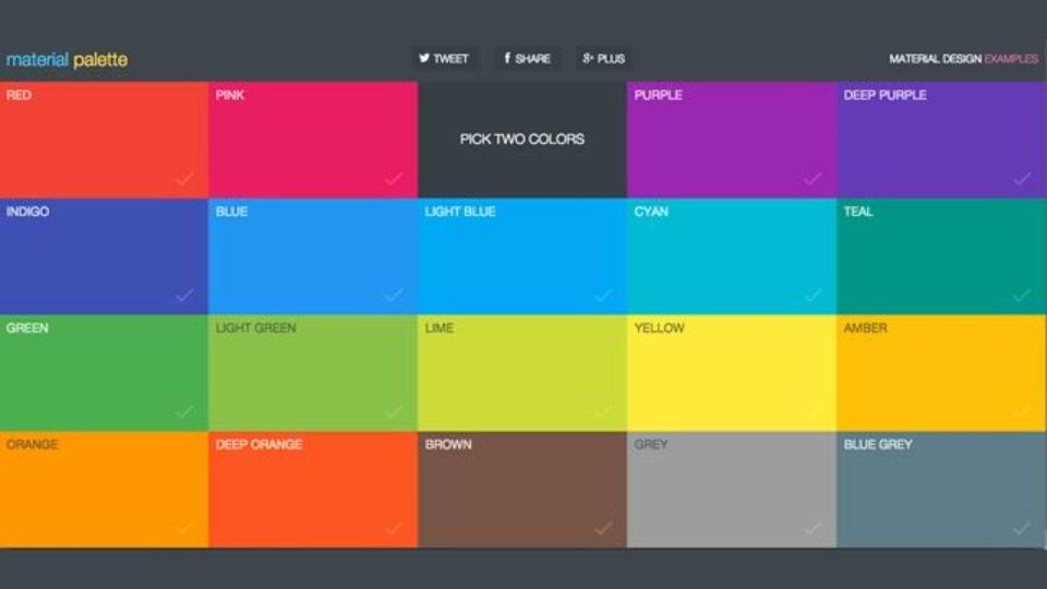 選んだ2色からマテリアルデザインに合う配色を作成してくれるサイト「Material Palette」