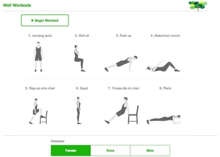 毎日7分間のエクササイズを支援してくれるサイト「Well Workouts」