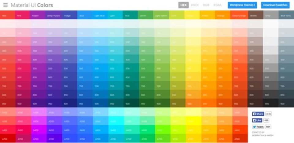 マテリアルデザインに使える配色をまとめたサイト「Material UI」