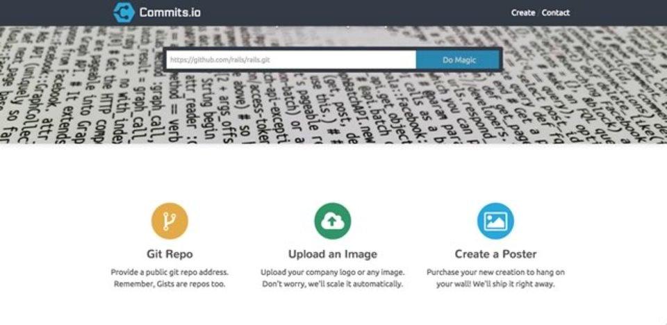 Gitで管理しているコードをポスター化できるサイト「Commits.io」